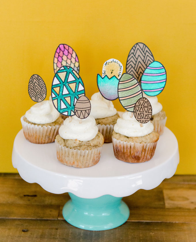 Easter egg cupcake toppers, DIY cupcake toppers Easter, Easter DIY for kids, Family friendly Easter DIy, oh yay studio, DIY cupcake toppers