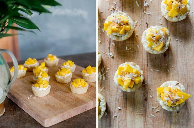 coconut lime mango tarts, tropical tart recipe, mini tart recipe easy, sugar cookie mini tart recipe, mini fruit tarts easy