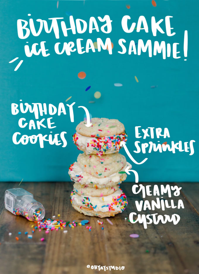 birthday cake ice cream recipe, ice cream sandwich ideas, ice cream sandwich recipe, ice cream sandwich dessert, summer dessert easy, summer dessert ideas, ice cream sandwich dessert