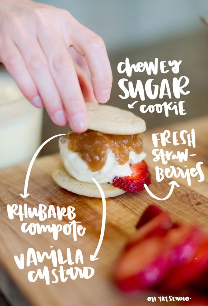 Week two :: Strawberry Rhubarb ice cream sandwhich (aka, the perfect early summer ice cream bite)