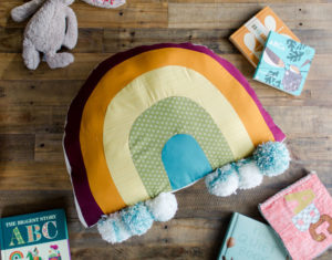 how to sew a rainbow pillow, rainbow pillow tutorial, easy sewing patterns for kids, easy sewing patterns, rainbow sewing pattern, simple sewing patterns, rainbow pillow, rainbow floor pillow