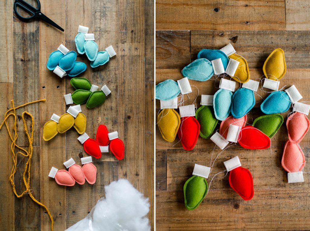 DIY felt christmas garland, DIY Christmas bulb ornaments, DIY christmas bulb garland, how to make a felt christmas garland,  DIY christmas garland ideas, christmas bulb DIY, christmas bulb decorating, colorful christmas garland, colorful christmas decor DIY