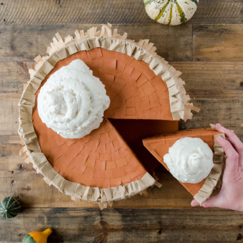 Pumpkin pie pinata, How to make a pumpkin pie pinata, Thanksgiving pinata, Thanksgiving party ideas, Friendsgiving pinata, Thanksgiving pie, Friendsgiving pie ideas, how to make a pinata, Pinata pie DIY