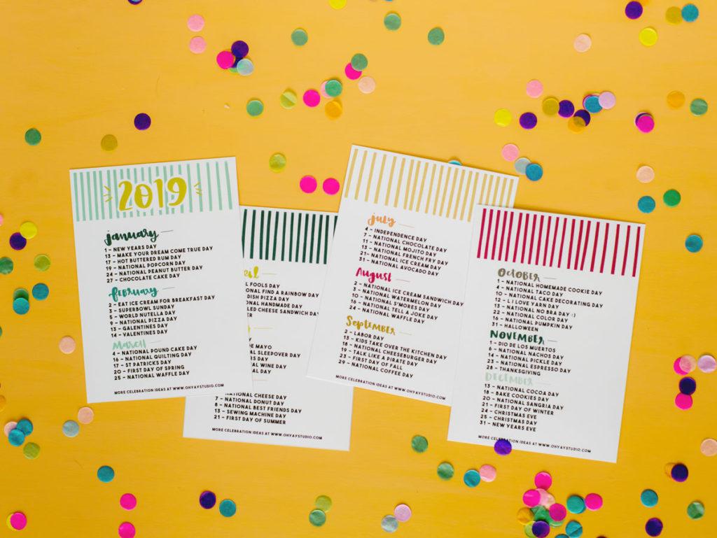 Christmas Holidays 2019 Calendar.2019 Everyday Holiday Printable Calendar