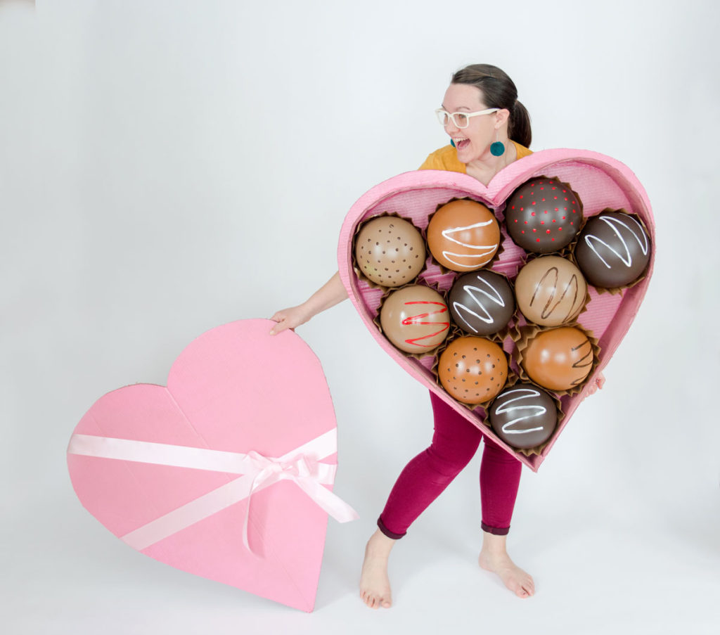 Valentines day costume, box of chocolate costume, DIY heart shaped costume, DIY chocolate costume, DIY box of chocolates costume, oh yay studio costume challenge, how to make a halloween costume, easy costume ideas