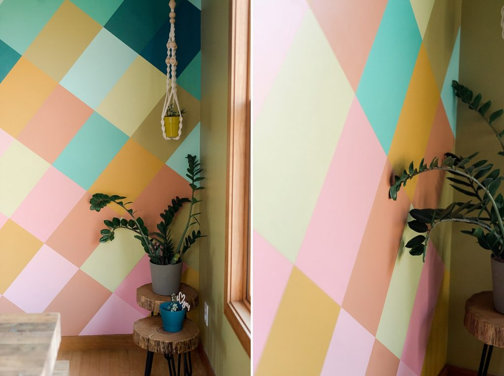 How to DIY a colorful wall mural, colorful wall mural, joyful wall mural, in home mural, how to make an easy colorful wall mural, dining room mural, house mural, how to paint a wall, diagonal grid on wall