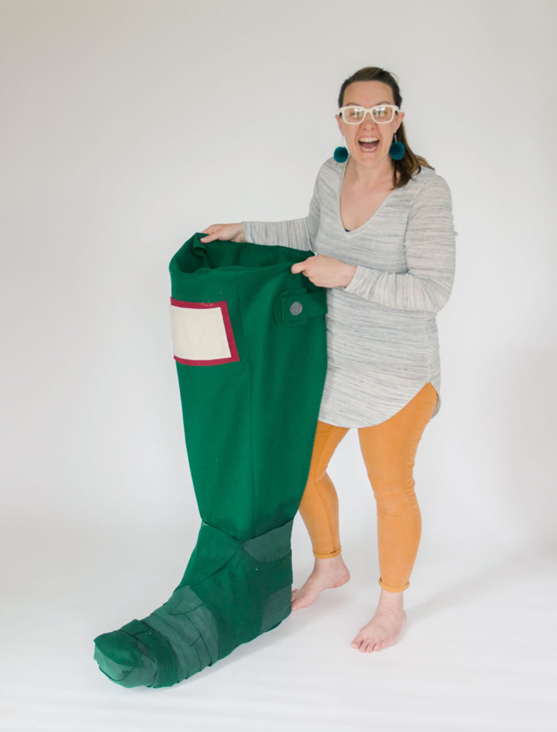 hunter boot costume, boot costume, how to make a hunter boot, fabric paper mache, how to fabric paper mache, paper mache out of fabric, easy costume DIY, handmade costume, handmade halloween