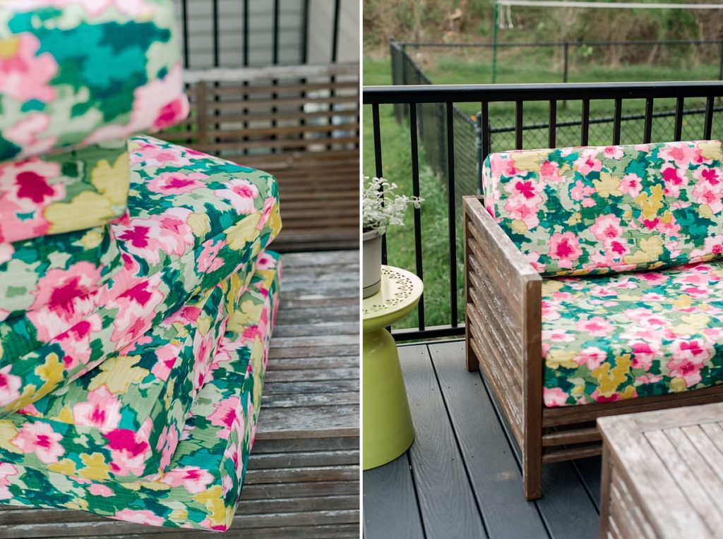 how to re-cover patio cushions, recovering patio cushions DIY, how to recover couch cushions, recovering patio furniture, patio furniture cushion repair, easy at home DIY for your deck or patio