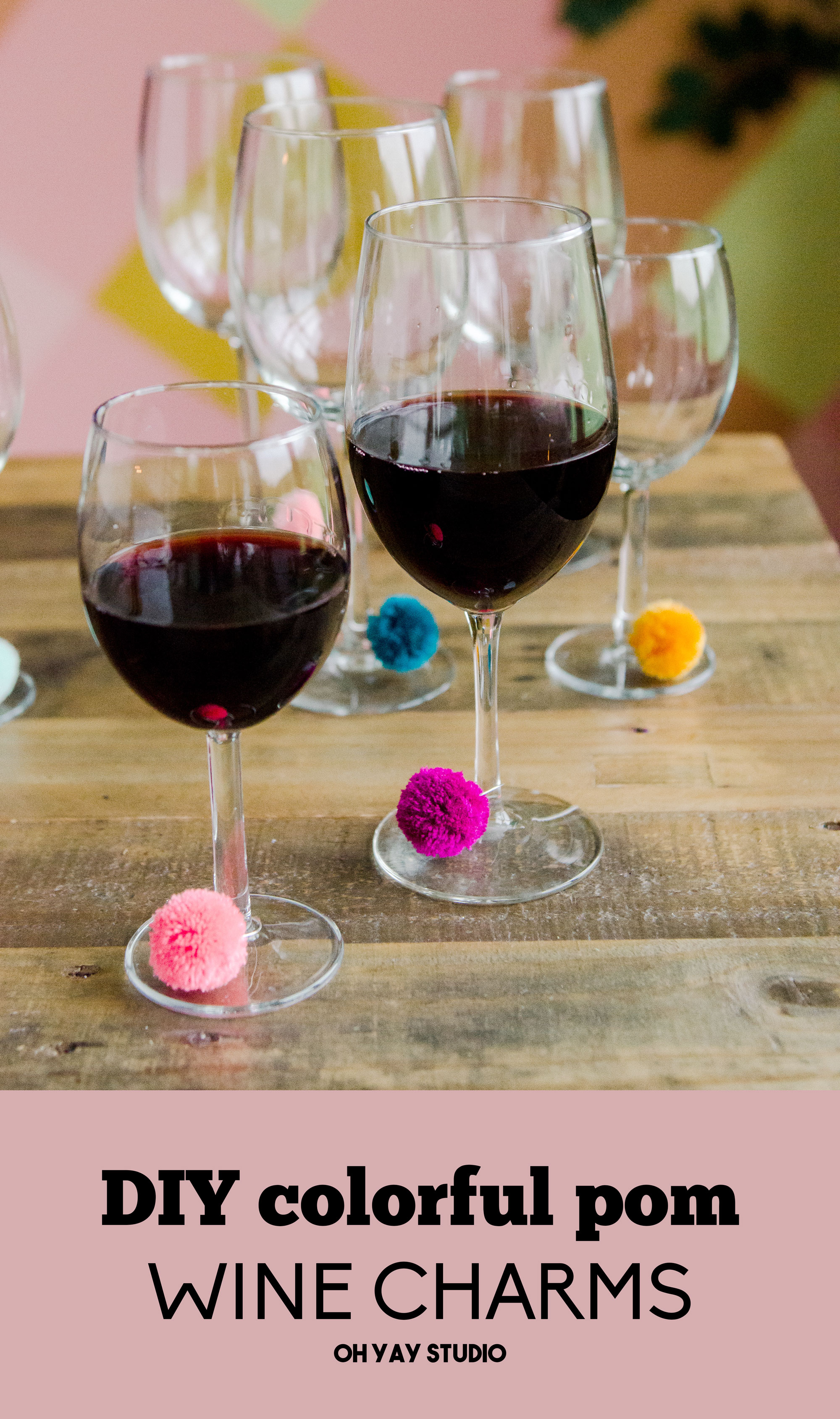 DIY Pom wine charms, Colorful wine charms, How to make the best pom pom, DIY pom poms, DIY wine charms, fast craft ideas, crafting ideas, party craft ideas