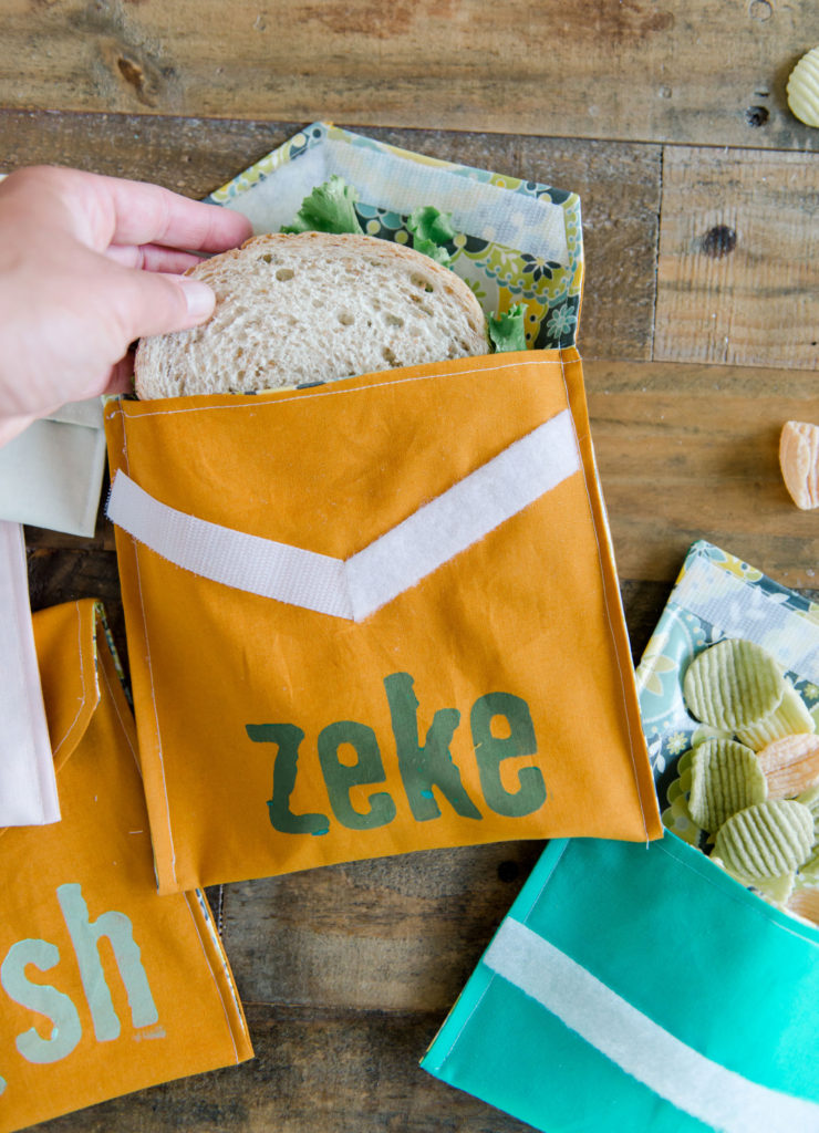 how to make a reusable snack bag, how to make a reusable sandwich bag, graphic snack bag, graphic lunch bag, free sewing project, janome summer camp project