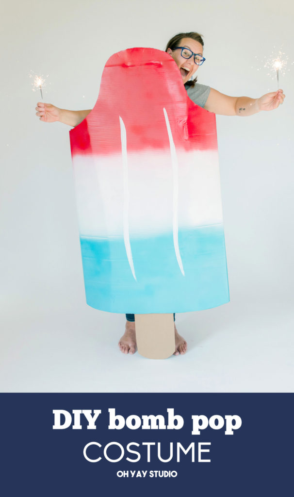 bomb pop costume, cardboard box costume, easy DIY costume,  summer costume, 4th of july costume, 4th of july parade idea