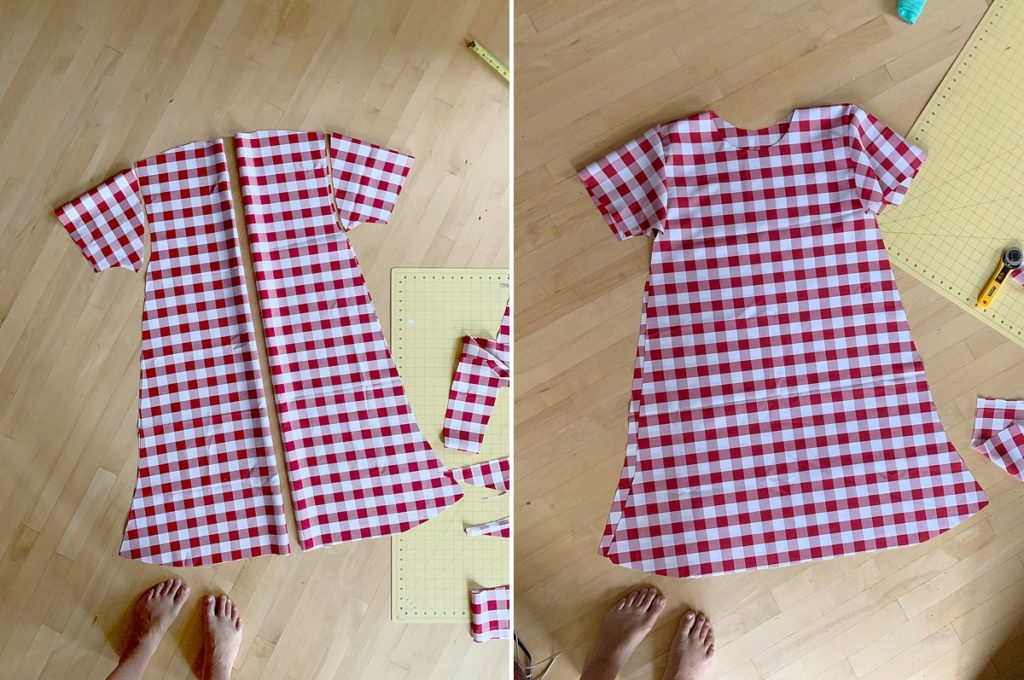 How to make a DIY picnic table costume with fake food and a table cloth, DIY halloween costume, DIY picnic table costume