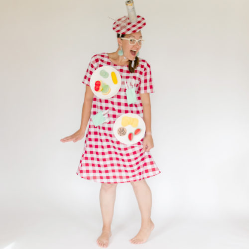 How to make a DIY picnic table costume with fake food and a table cloth