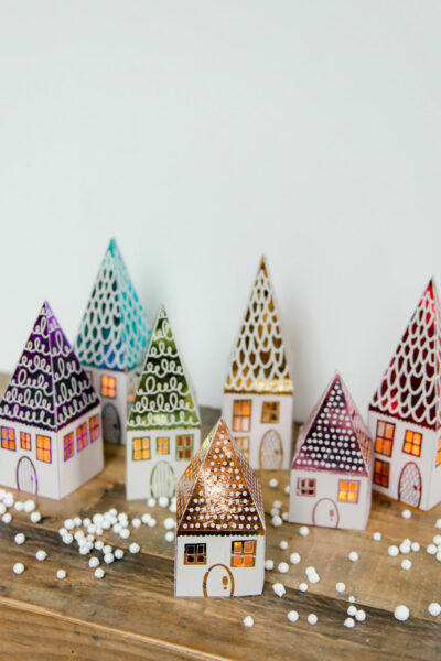 DIY house luminary, DIY foiled houses, DIY paper luminaries, printable paper luminaries, Xyron Glaminator house luminaries, xyron laminator projects