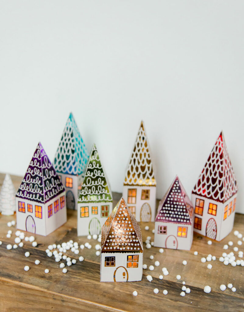 DIY house luminary, DIY foiled houses, DIY paper luminaries, printable paper luminaries, Xyron Glaminator house luminaries, xyron laminator projects