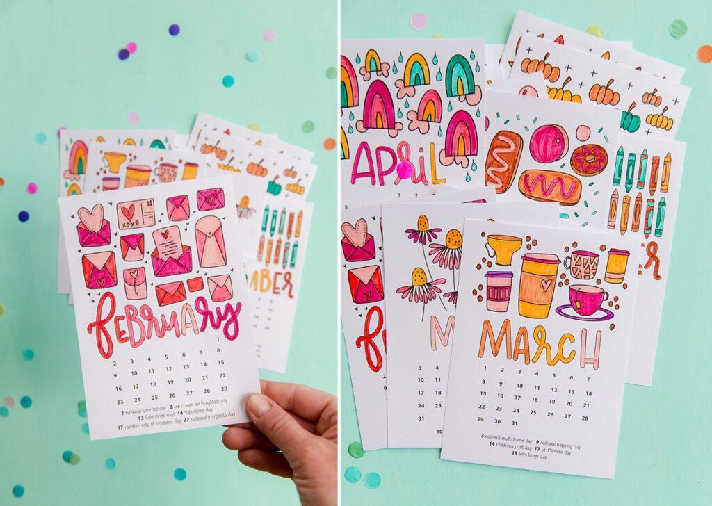 color calendar, printable calendar, free 2020 calendar, everyday holiday calendar, free color sheets