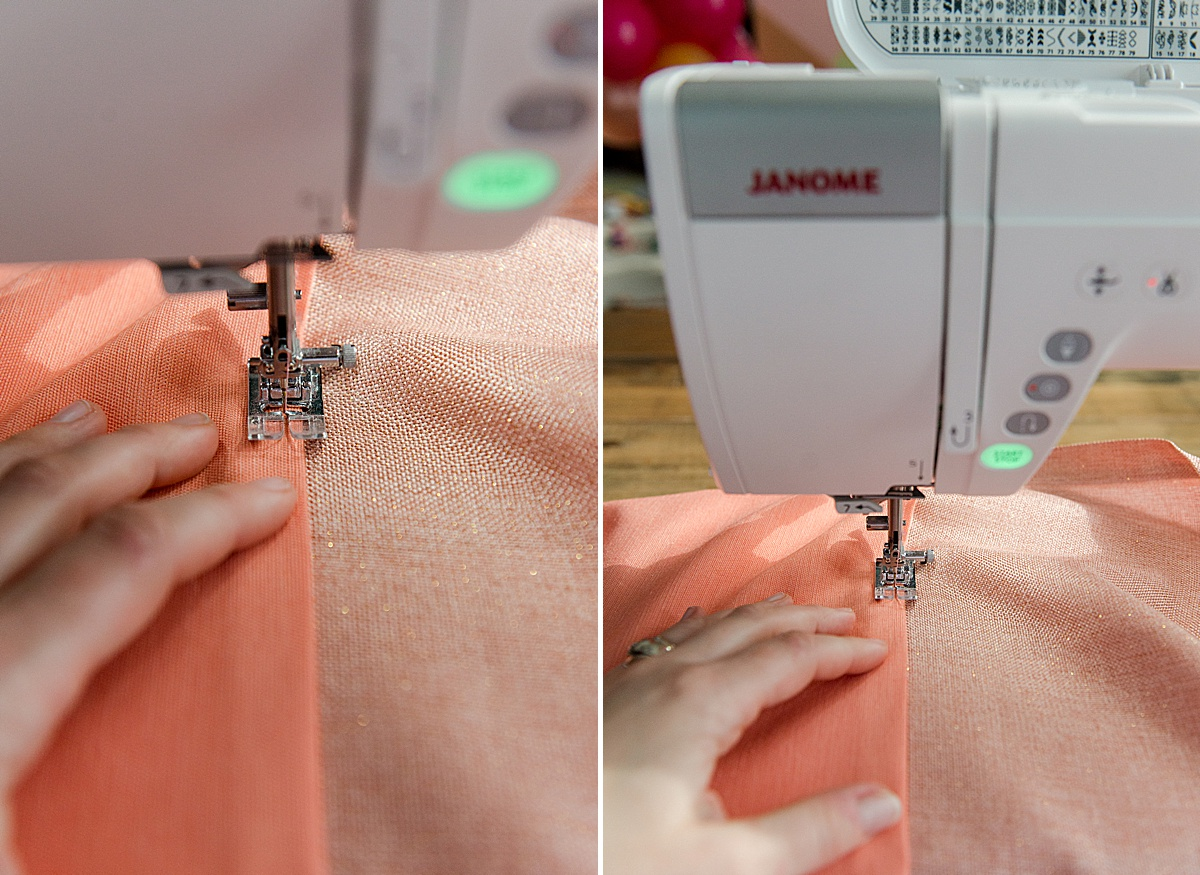 how to lengthen curtains, interlocking stitch curtains, how to lengthen store bought curtains, how to sew curtains, janome sewing machine