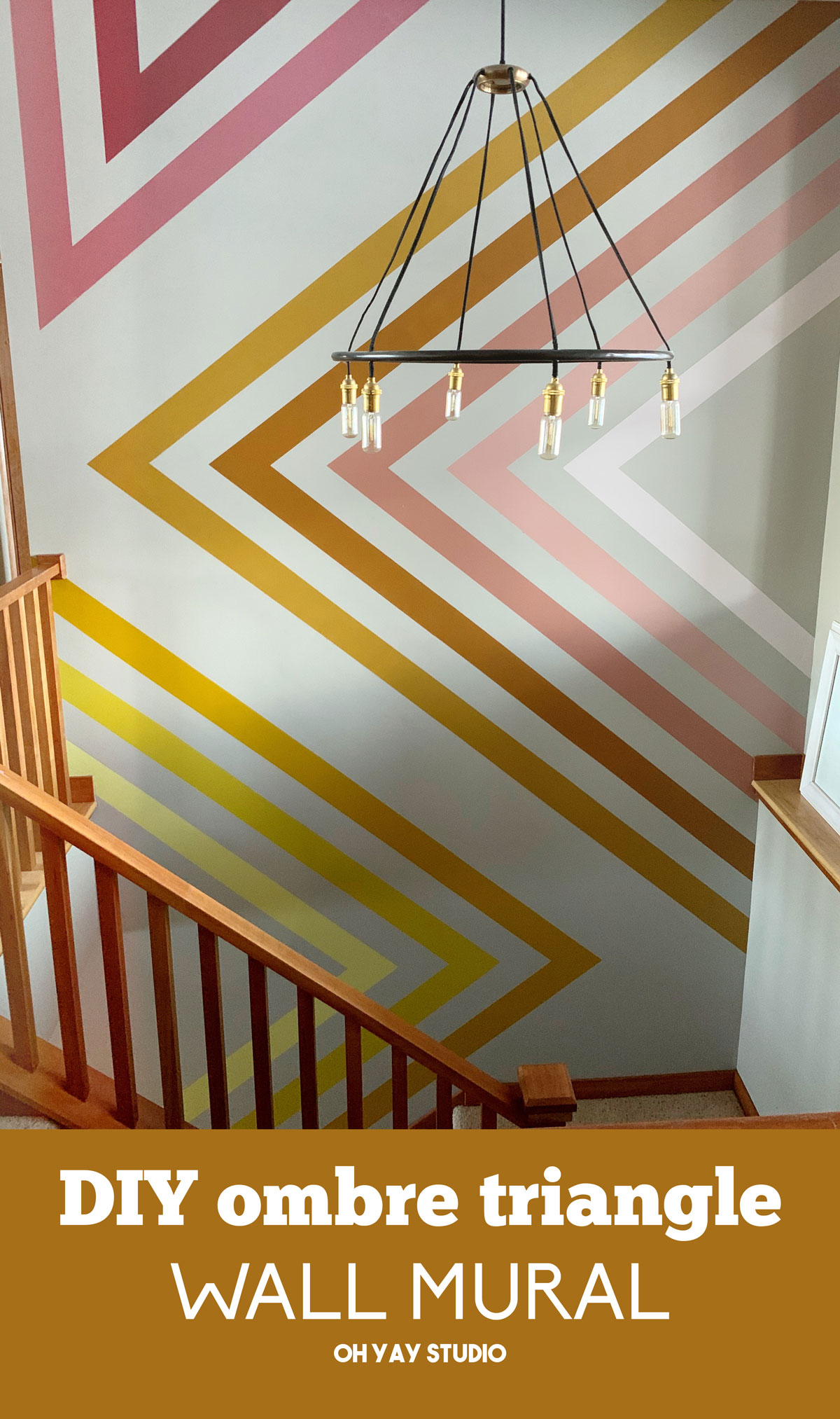 how to do a wall mural, stairway wall mural, stairway DIY painting, DIY painting, painting project, oh yay painting