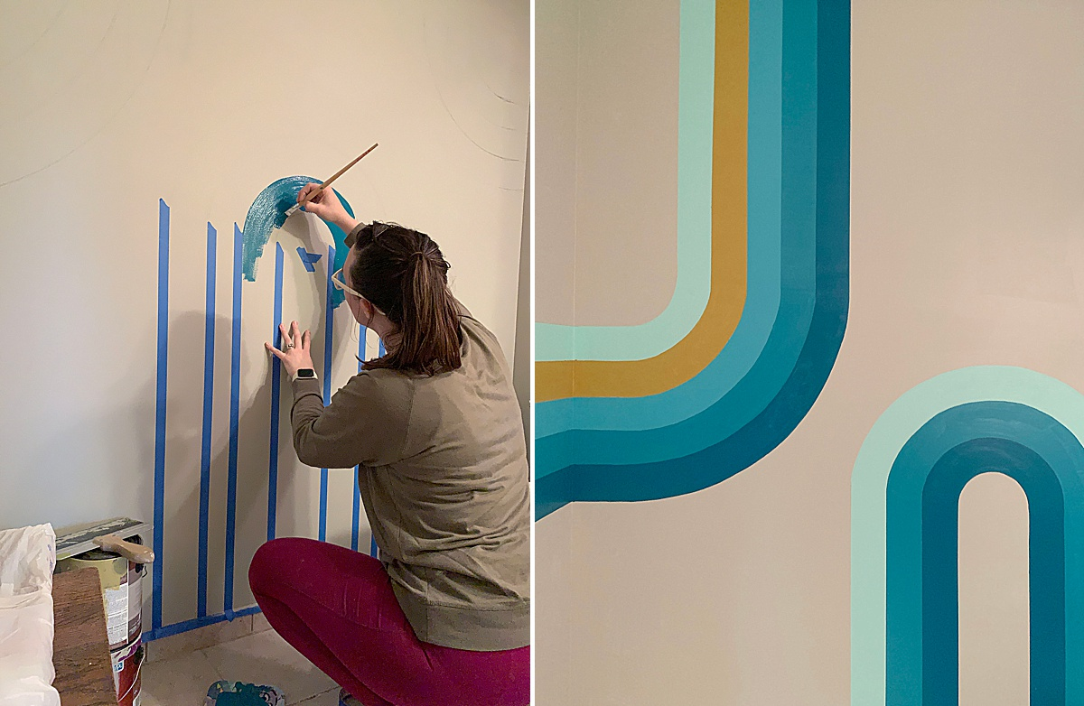 bathroom mural, colorful household mural, curvy line mural, how to paint a curved line mural