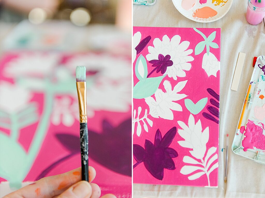 DIY floral paint by number, floral paint by number, at home paint by number, free paint by number, DIY paint by number