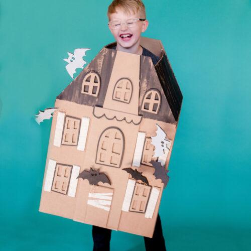 haunted house costume, DIY cardboard box costume, DIY halloween costume, haunted gingerbread house costume, haunted house costume