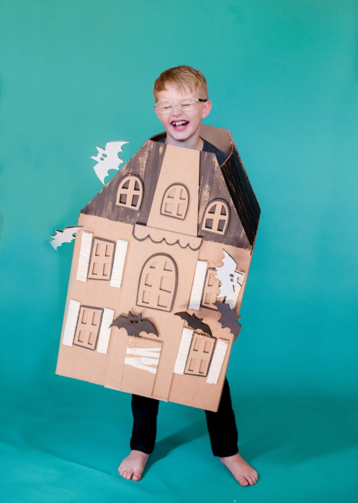 haunted house costume, DIY cardboard box costume, DIY halloween costume, haunted gingerbread house costume, haunted house costume
