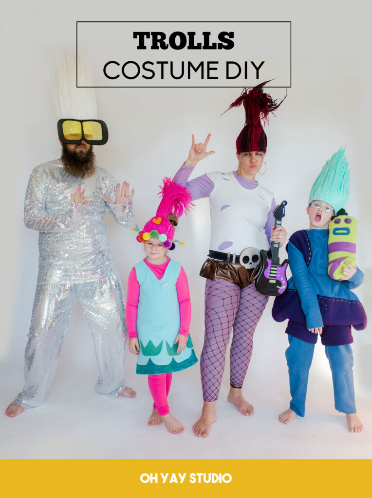 How to make trolls costumes, trolls costumes, trolls world tour costumes, poppy costume, queen barb costume, tiny diamond costume DIY, Biggie Mr Dinkles costume