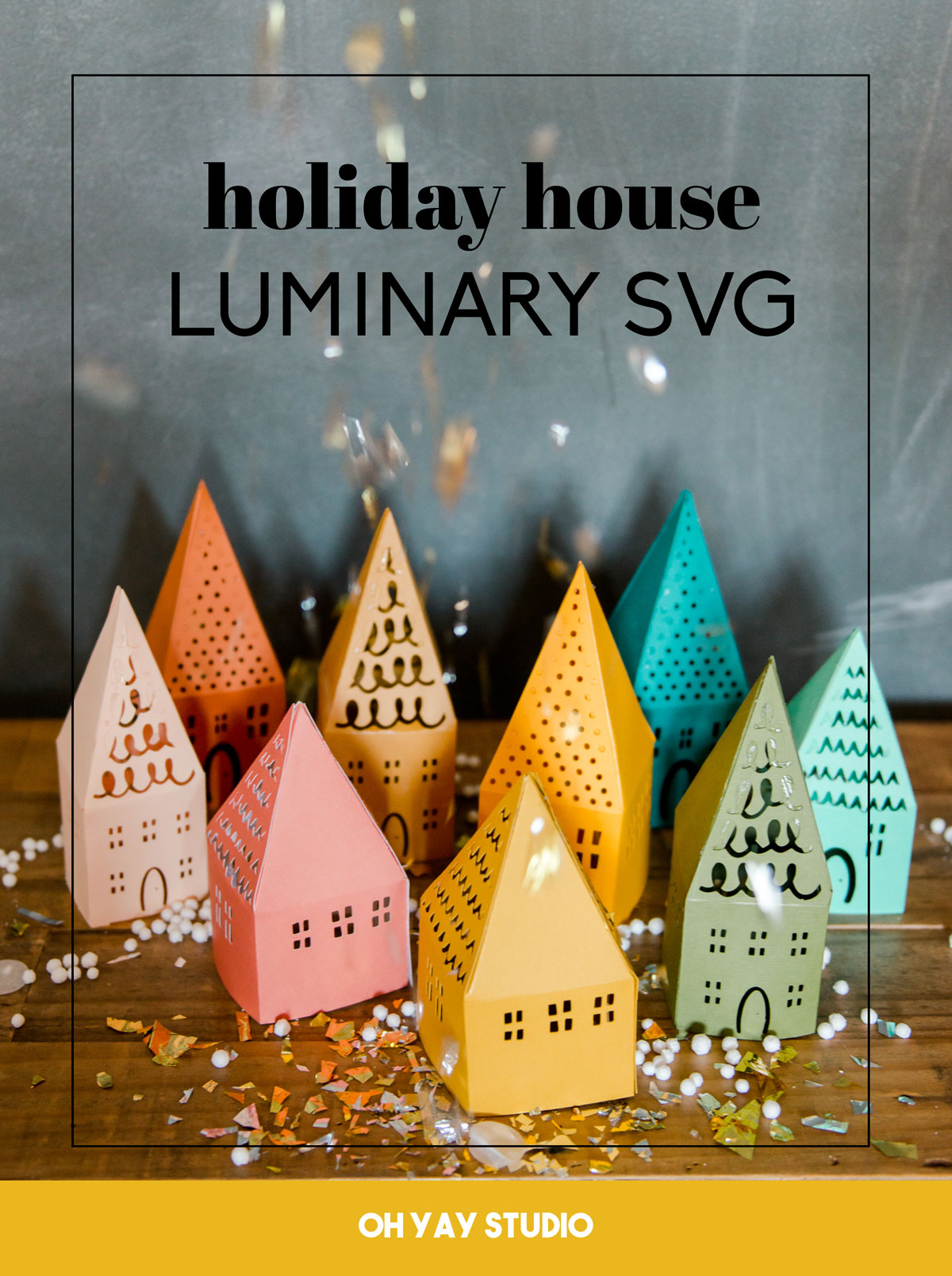 holiday luminary SVG file, Free Christmas SVG files, Free holiday SVG files, Paper SVG file, Svg file for cricut, free cricut designs, oh yay studio SVG files