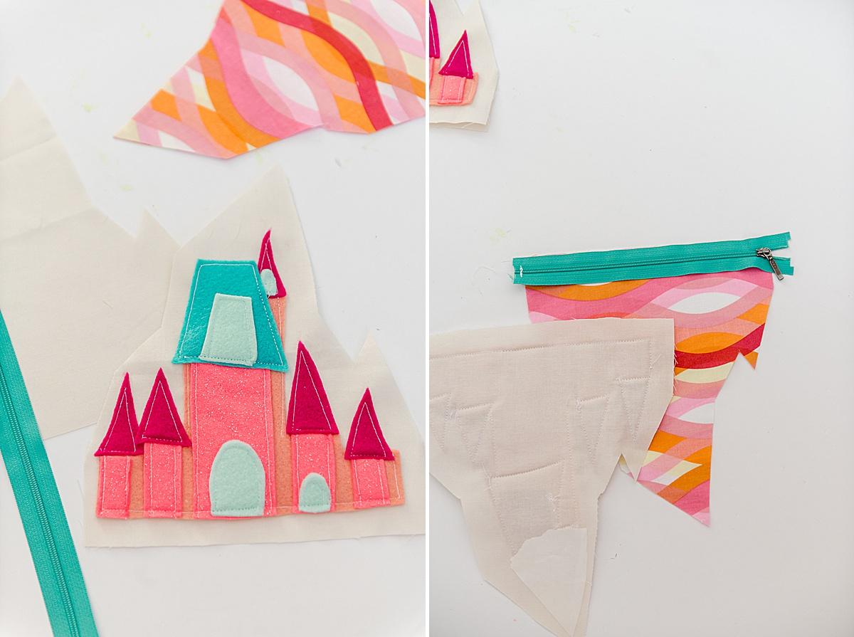 princess castle zipper pouch, disney princess castle pouch, disney princess zipper pouch, oh yay studio sewing pattern