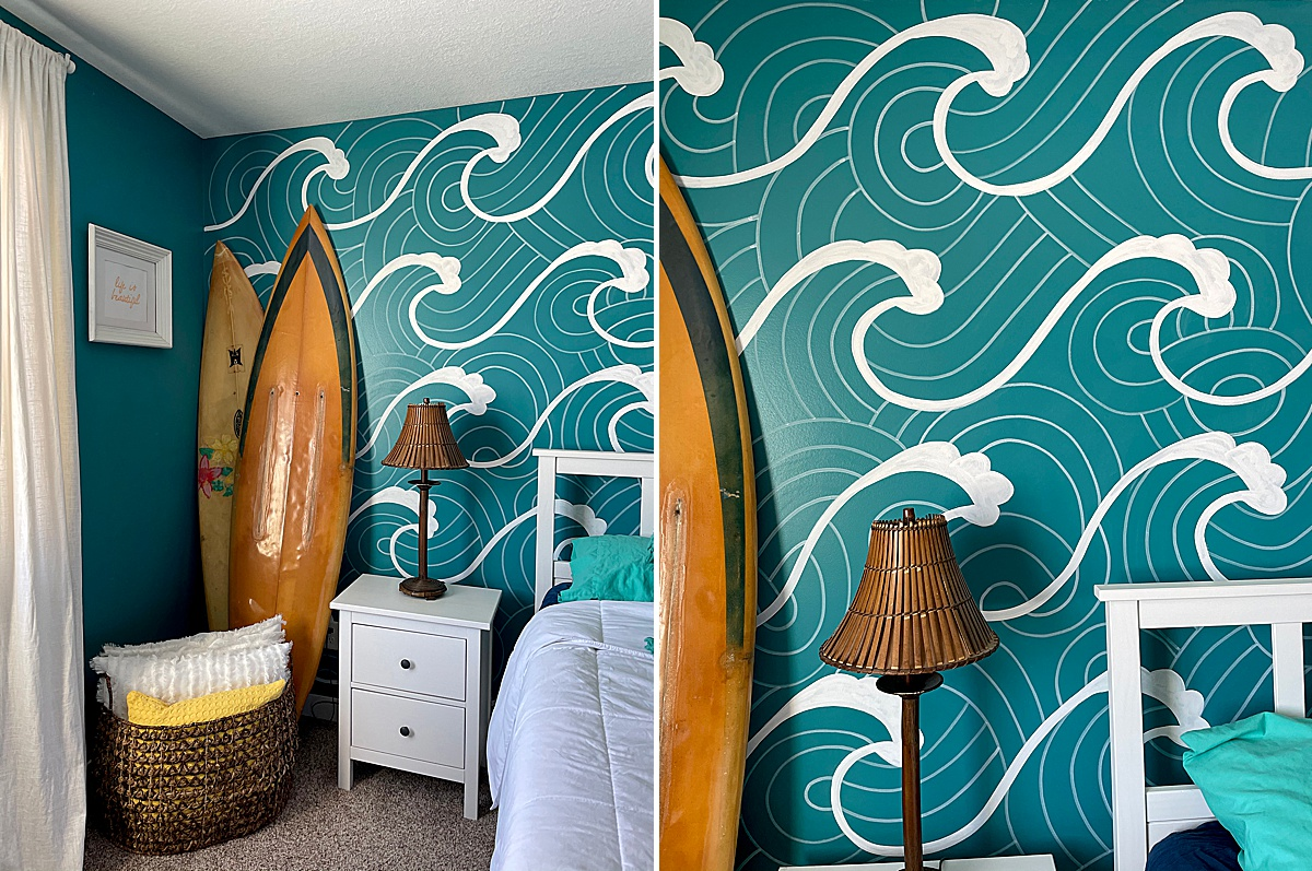 Wave mural DIY, how to paint a beachy mural, how to paint a wave mural, beach mural DIY, how to paint a mural