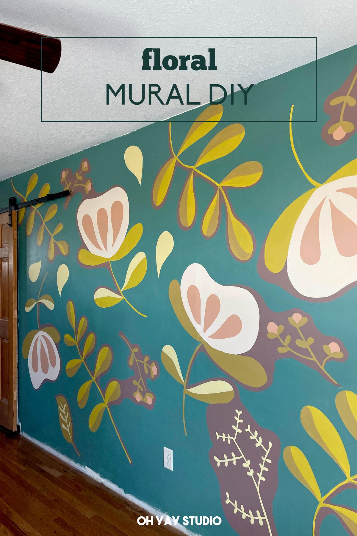 Floral playroom mural, Home mural, Floral painting, flower mural, flower mural DIY