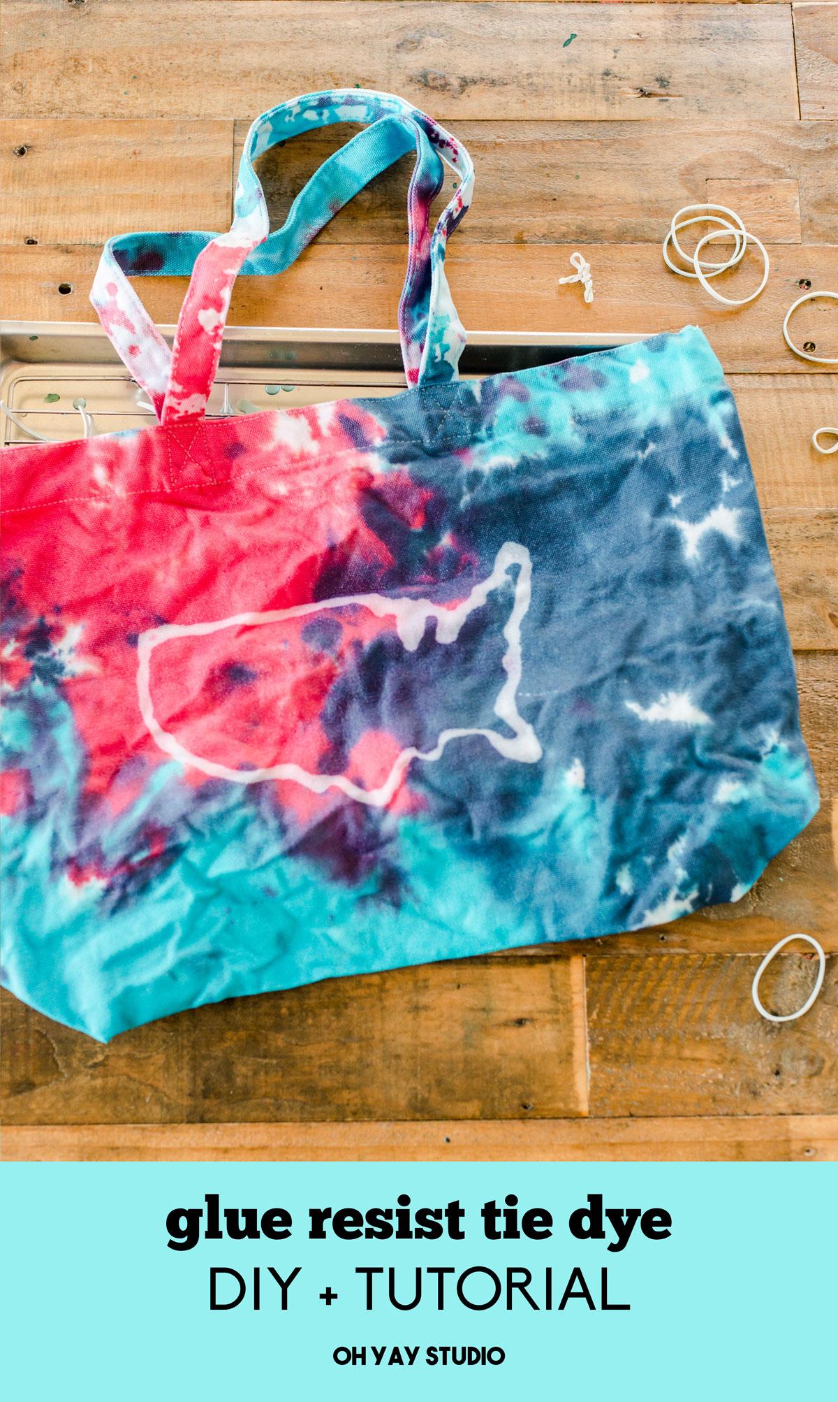 Glue resist tie dye, olympic tie dye idea, red white and blue tie die, how to glue resist with tie dye, tie dye DIY