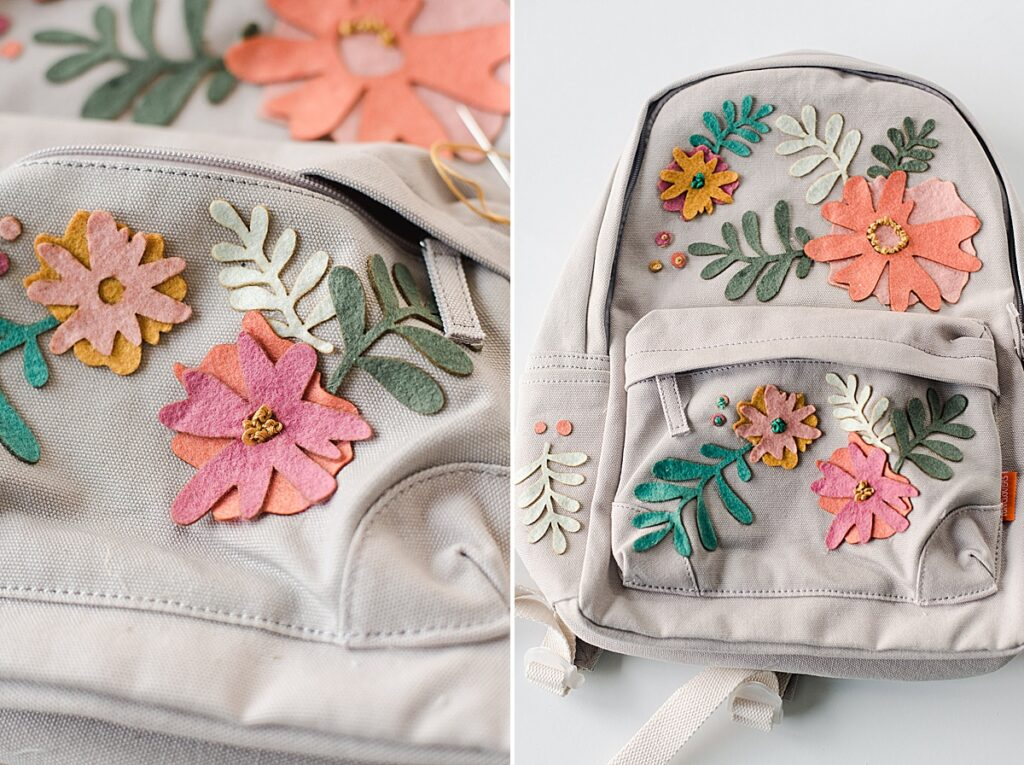 Floral Fabric Backpack, canvas backpack upcycle, felt floral backpack, backpack DIY project, back to school project